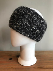 April Hand Crochet Black Metallic Woven Ear Warmer