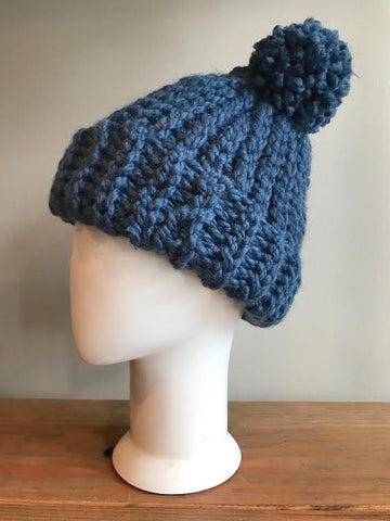 April Hand Crochet Light Blue Hat With Pom