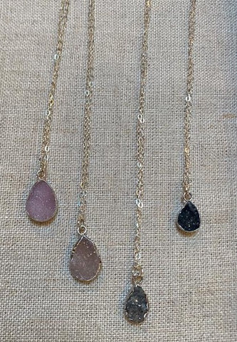 Susan Rifkin Silver Druzy Teardrop Necklace (Multiple Colors!)