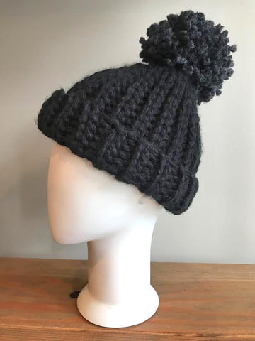 April Hand Crochet Charcoal Hat with Pom