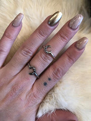 Hellhound Jewelry Studded Crescent Ring