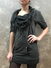 Tough Luv Black Cowl Tunic Top