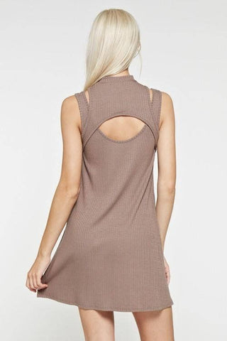 Maronie Taupe Ribbed Mini Dress