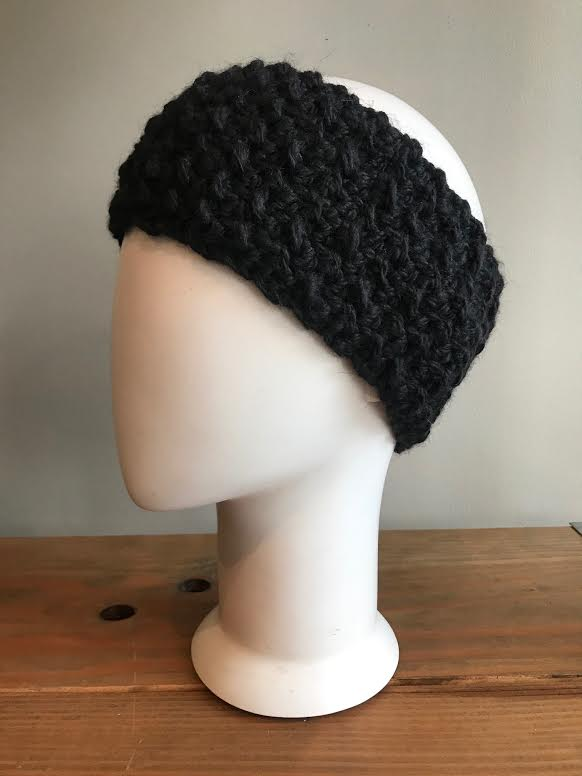 April Hand Crochet Black Woven Ear Warmer