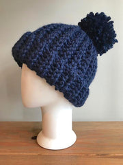 April Hand Crochet Blue Hat with Pom