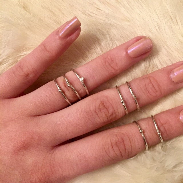 Hellhound stackable midi rings