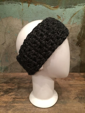 April Hand Crochet Charcoal Ear Warmer
