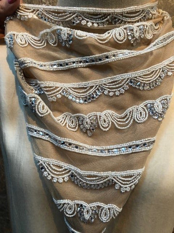 Naveda Cream Beaded Scarf