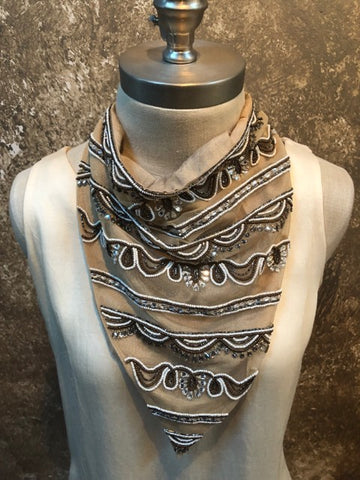 Naveda Beige Beaded Scarf
