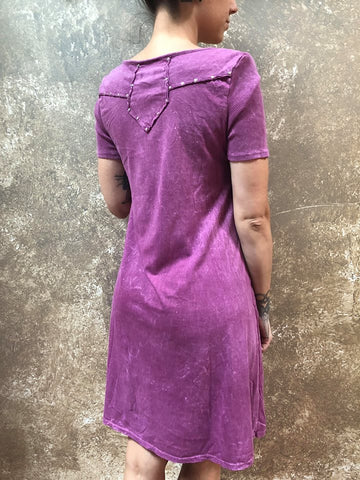 Tough Luv Acid Washed Dress Magenta