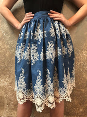 Bianca Rachele Embroidered Denim Skirt