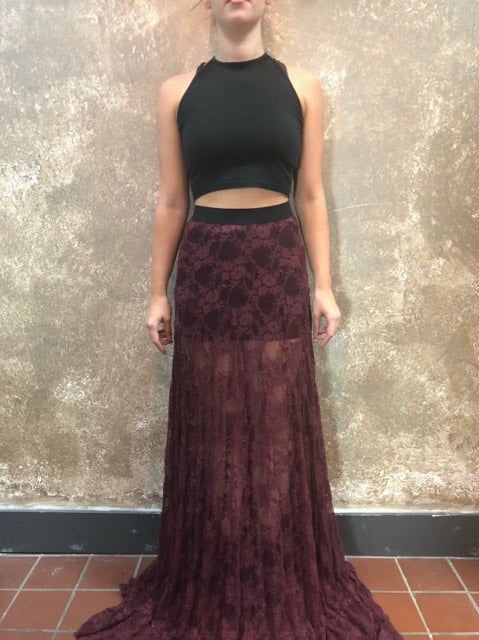Bianca Rachele One of a Kind Burgundy Lace Skirt