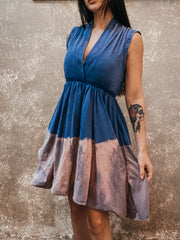 Tough Luv Sleeveless Goddess Dress Blue Dip Dye
