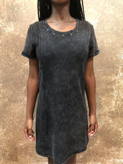 Tough Luv Studded Acid Washed Dress