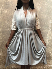 Tough Luv Grey Dress With Lace Sleeves