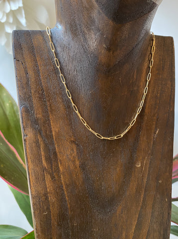 Susan Rifkin Small Gold Paperclip Necklace