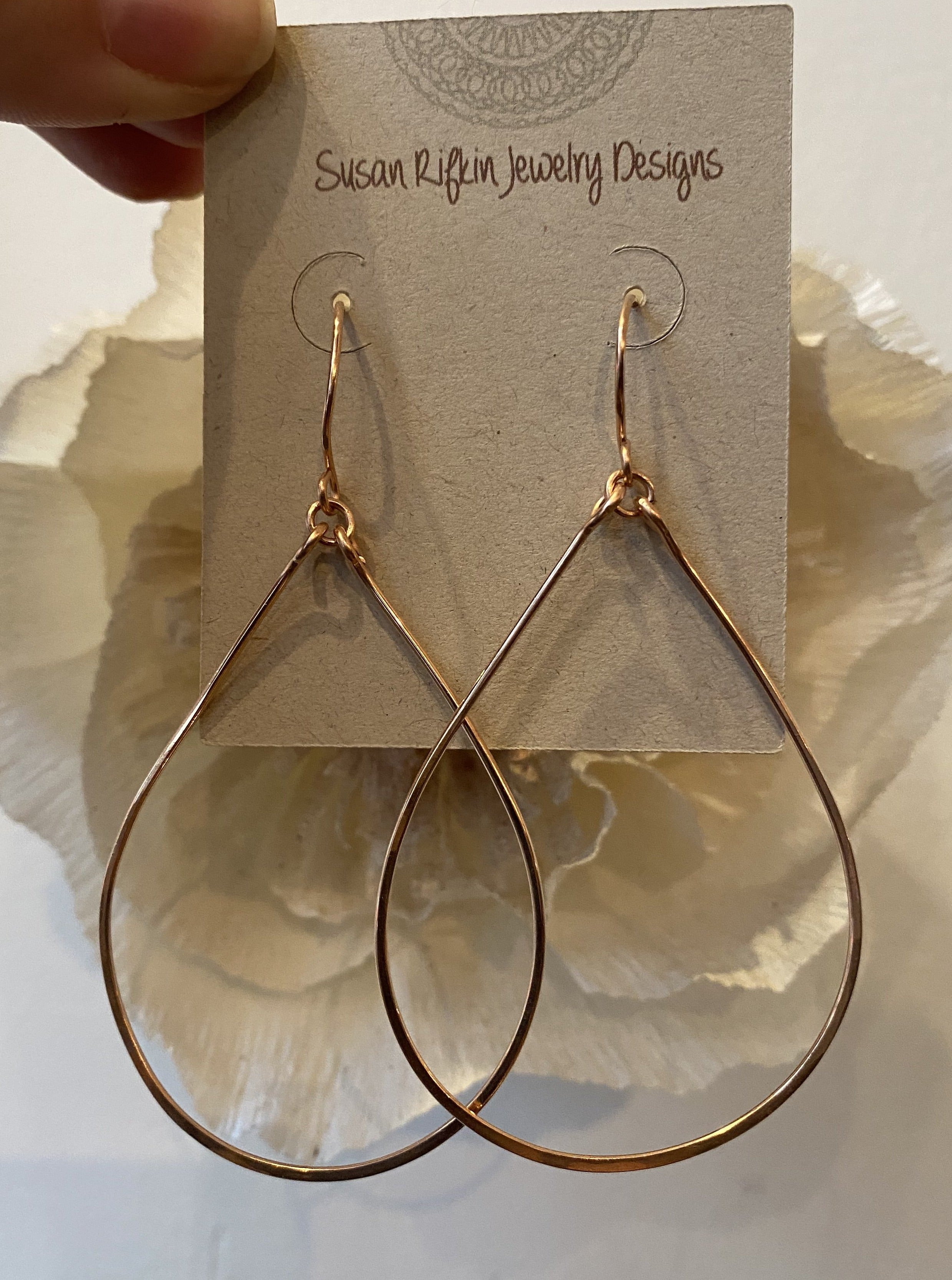 Susan Rifkin Large Rose Gold Teardrop Hoops