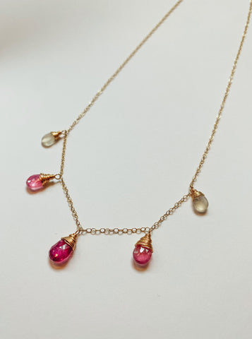 Susan Rifkin Pink Mix Semiprecious Drop Necklace