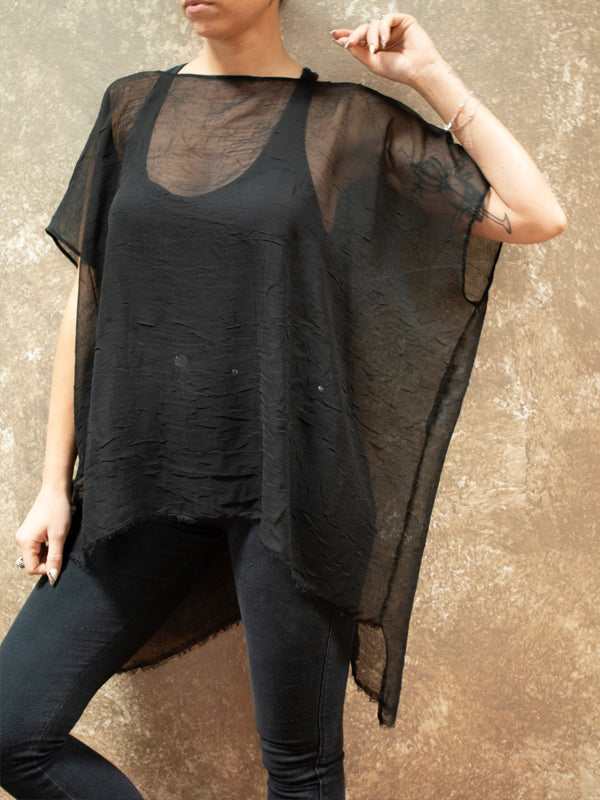 ADHD Driven Black Sheer Top