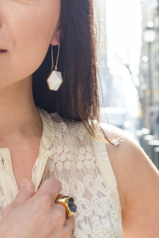 Nuance Herb Hexagon Point Earrings