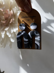 Ochre Labs Black and White Marbled Horseshoe Earrings
