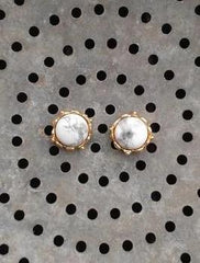 Nuance White Marble Studs
