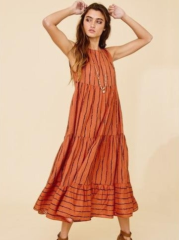 Ces Femme Rust Tiered Maxi Dress