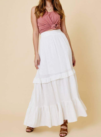 Ces Femme Cotton Tiered Maxi Skirt