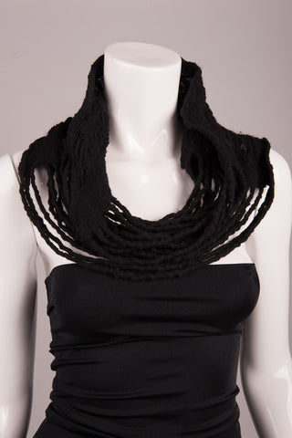BlckBts Felted Black Strand Cowl