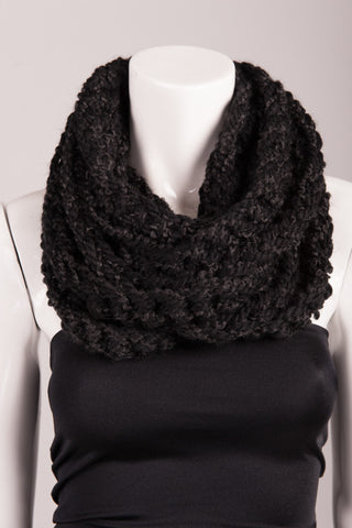 Crochet Strand Cowl Scarf Charcoal