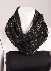 Crochet Strand Cowl Scarf Black with Grey Yarn