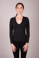 HE Collective Cropped Long Sleeve Basic V Neck