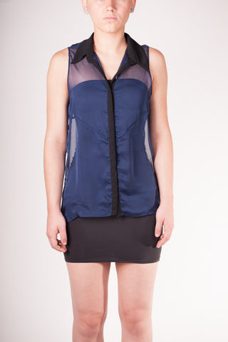 Bianca Rachele Navy Button Top