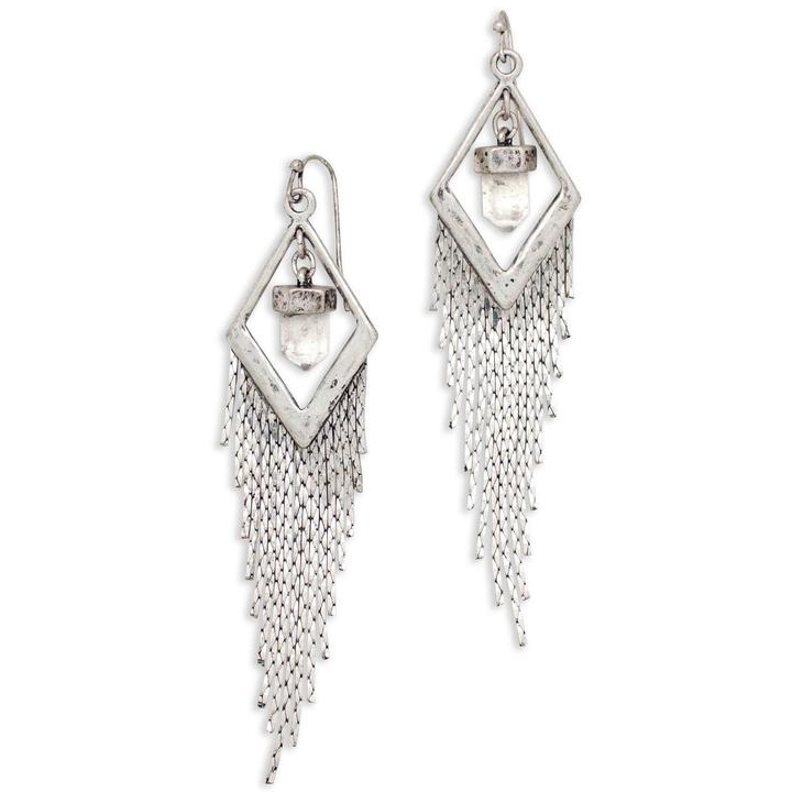 Hiouchi Crystal Drifter Earrings | Silver + Quartz |