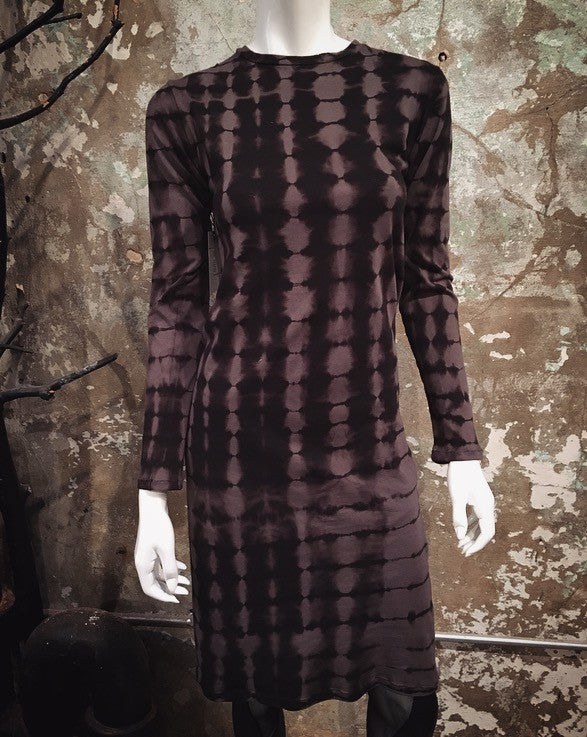 HE Collective Hand Dyed Long Sleeved Black/Reddish-Grey Dress