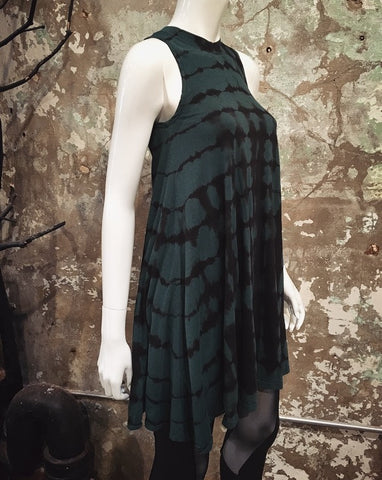 HE Collective Hand Dyed Sleeveless Green/Black Tank Dress