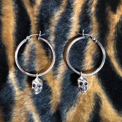 Hellhound Jewelry Baby Skull Hoop Earrings