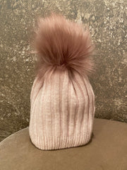 Moods and Madness Knit Pom Beanie ~ Pink