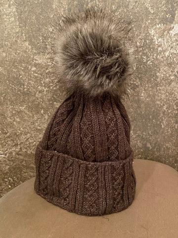 Moods and Madness Cable Knit Pom Hat ~ Brown