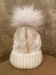 Moods and Madness Cable Knit Pom Hat [More Colors!]
