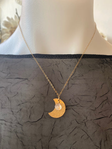 Vannucci Gold Crescent Moon with Moonstone Charm Necklace