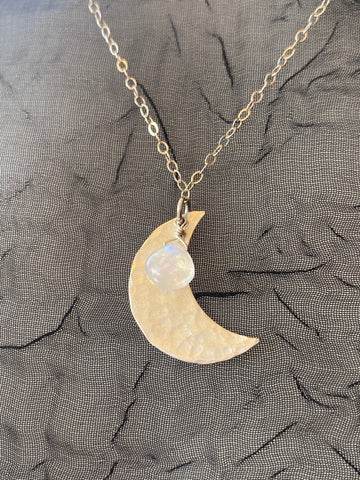 Vannucci Silver Crescent Moon with Moonstone Charm Necklace