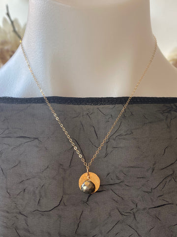 Vannucci Gold Disk with Pyrite Charm Necklace
