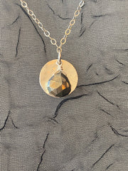 Vannucci Silver Disk with Pyrite Charm Necklace