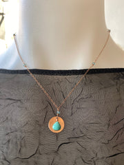 Vannucci Rose Gold Disk with Tuqouise Charm Necklace