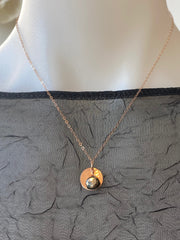 Vannucci Rose Gold Disk with Pyrite Charm Necklace