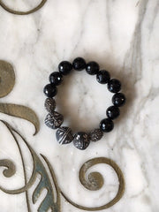 Musso Jewelry Faceted Onyx, Hematite & Clay Bead Bracelet