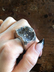 Nuance Charcoal Silver Plated Ring