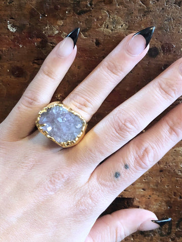 Nuance Druzy Pale Purple Gold Ring