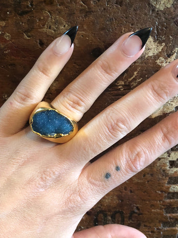 Nuance Druzy Blue Gold Plated Ring